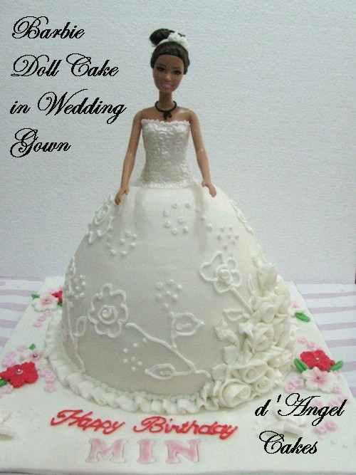 D Angel Cakes Barbie Doll Cake In Wedding Gown