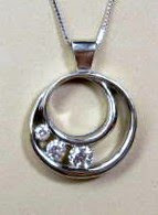 14 karat white gold 3 diamond custom pendant made by Payne's Custom Jewelry