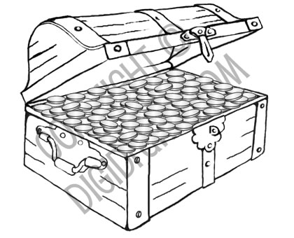 Pirate Treasure Chest Page Empty Coloring Pages