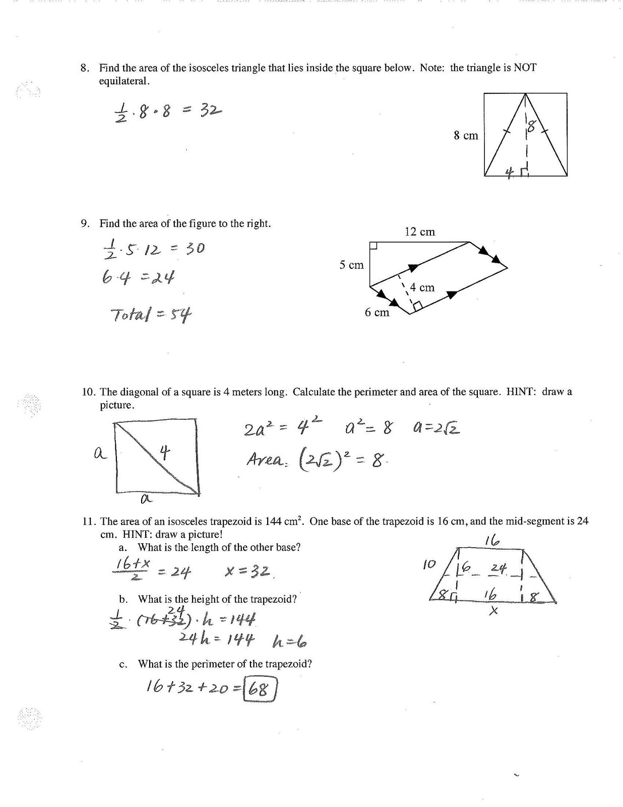 Jiazhen S Geometry Quadrilateral Chapter Test Review Key
