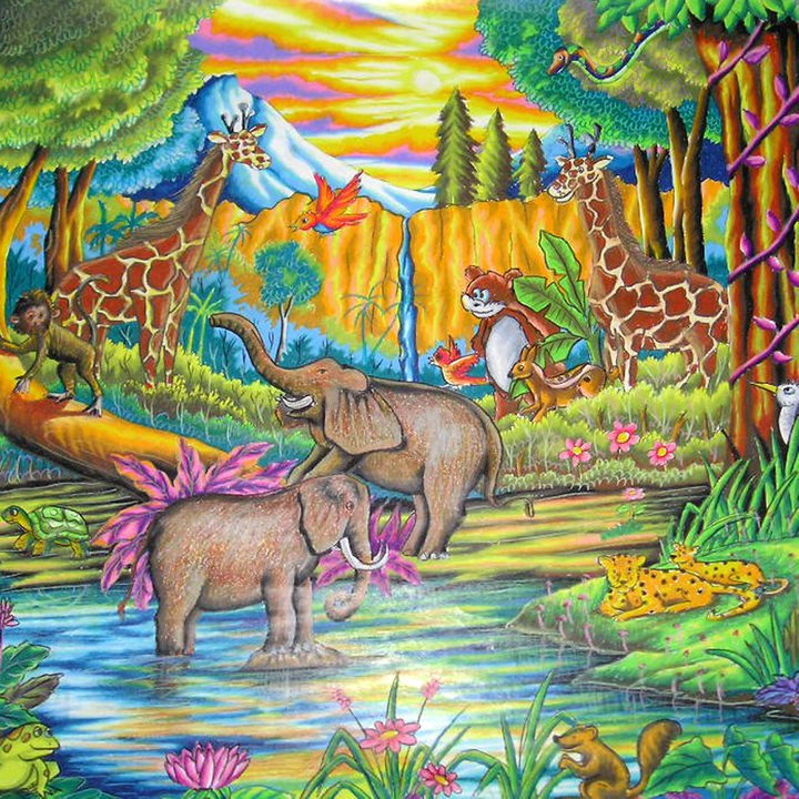 Lukisan Gambar Flora Dan Fauna Berwarna Cikimm Com