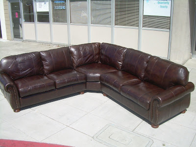 Sold Thomasville Leather Sectional Sofa 2400