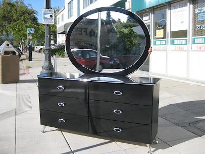 Greatest UHURU FURNITURE & COLLECTIBLES: SOLD - Black Lacquer Dresser Set  BU73