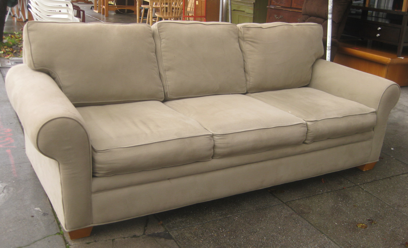 Sofa Donation Comfortable Sleeper Leather Uhuru Furniture And Collectibles Sold Beige 90