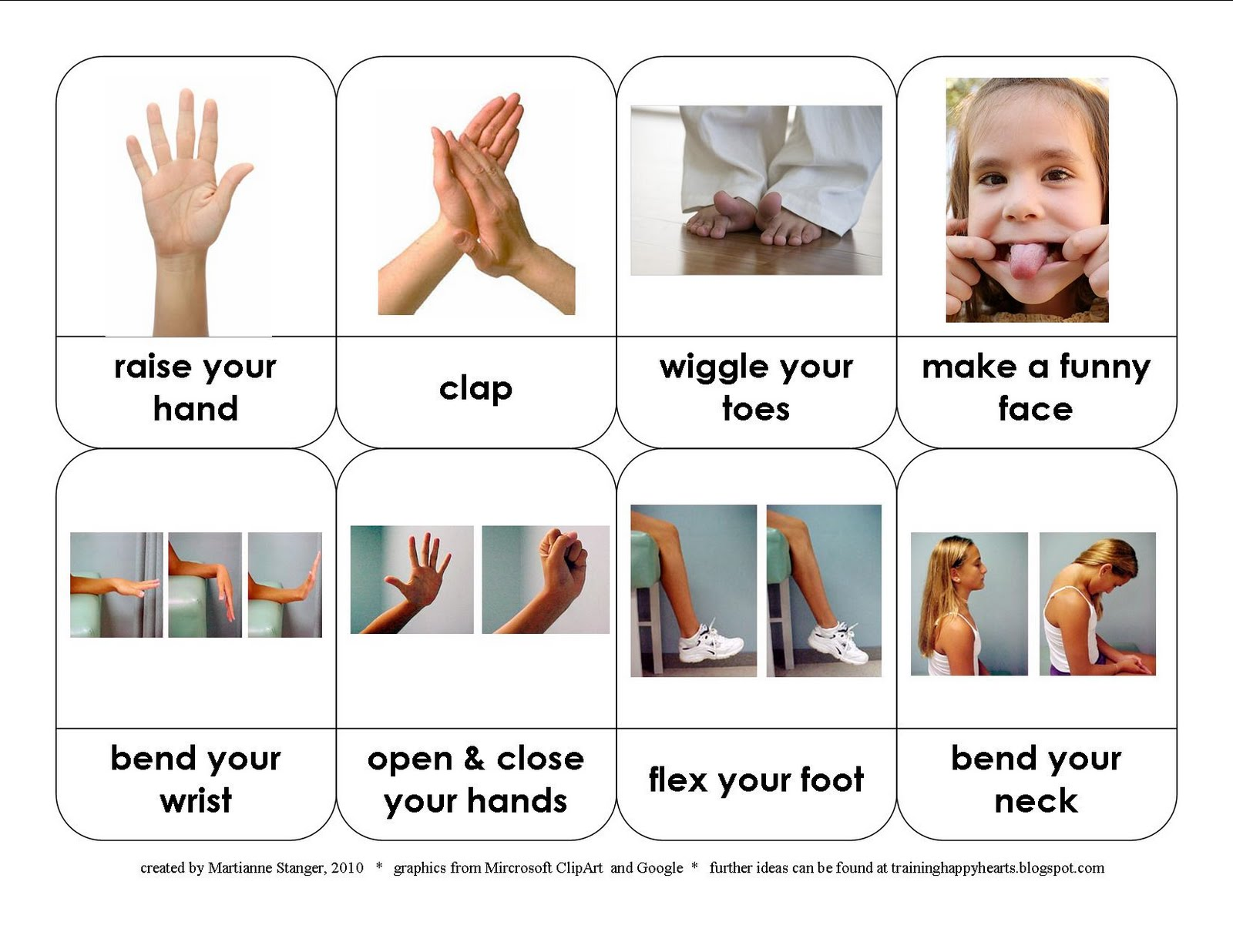 Training Happy Hearts Resource Round Up Of Body Parts Cards