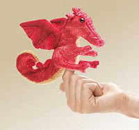 dragon finger puppet red
