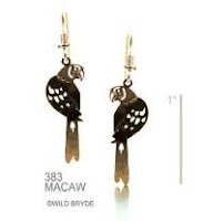 macaw parrot earrings gold french curve