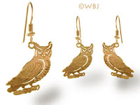 gold owl earrings french curve