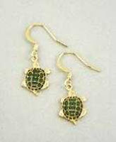 green turtle earrings french curve gold with enamel