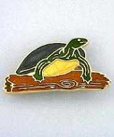 green turtle pin brooch gold with enamel