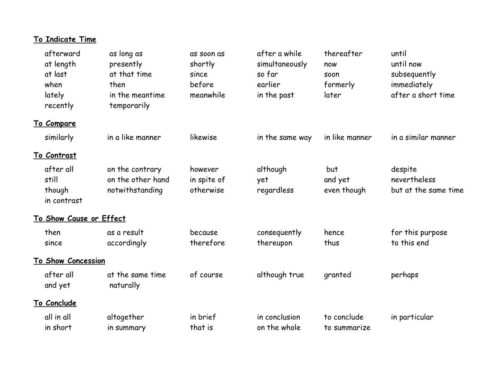 Essay Transitions Worksheet