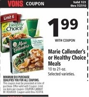 photo regarding Marie Callender Coupons Printable identify Vons: Wholesome Selection Frozen Foodstuff Simply just 59¢! This Frugal Existence