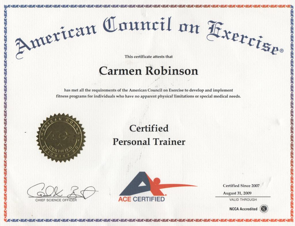 ace certification personal training trainer exam mta questions carmen course