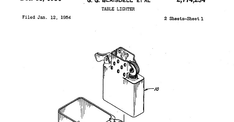 Table lighters collectors' guide: Cigarette lighter patents