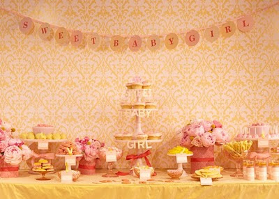 This Gorgeous Soft Pink And Yellow Dessert Table Was Designed For A Recent Baby Shower Amy Is Always Step Ahead Showing Us New Ideas Products To