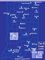 Map of the towns in Indiana that are named after countries and capitals