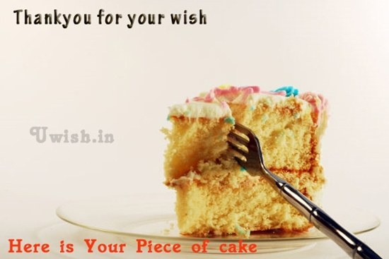 Thanks e greetings and wishes with cake for thanking  a person for their wish.