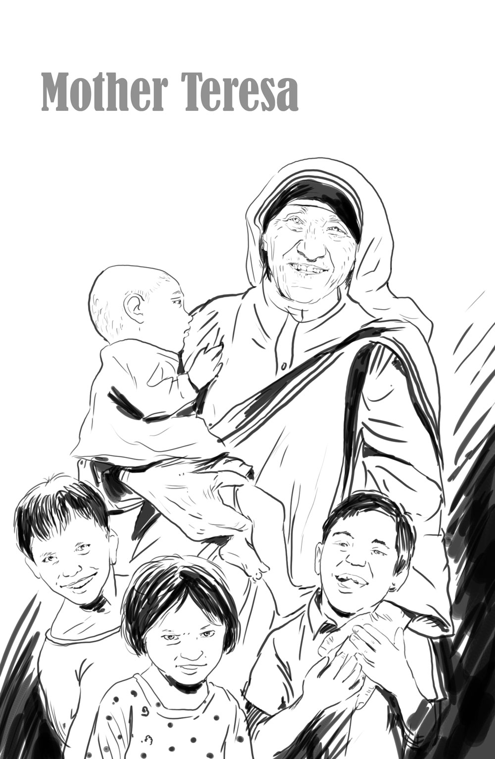 Saints coloring pages for Mother teresa coloring page