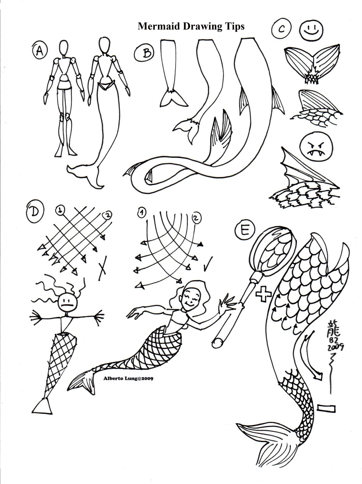 Kid Sketches: Mermaids Sketching Template