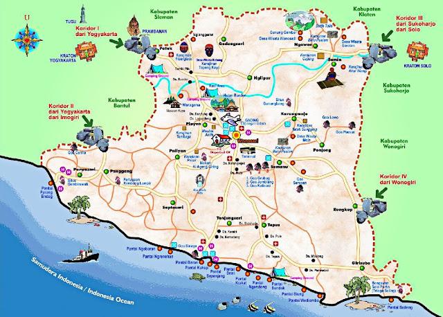 Peta Wisata (Pantai) di Gunungkidul, Yogyakarta