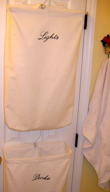 DIY small space laundry system using hanging laundry bags The Red Chair Blog storing laundry
