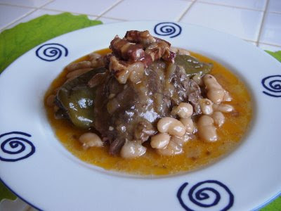 Pork Cheeks With White Beans from Núria at Spanish Recipes blog