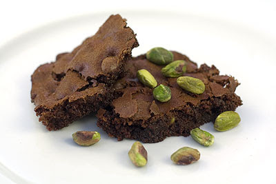 Chocolate & Pistachio Brownies from Michelle at Greedy Gourmet