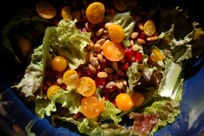 My salad using the last of our cherry tomatoes and the pomegranate seeds