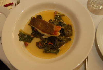 Very tender cod with chorizo and chard