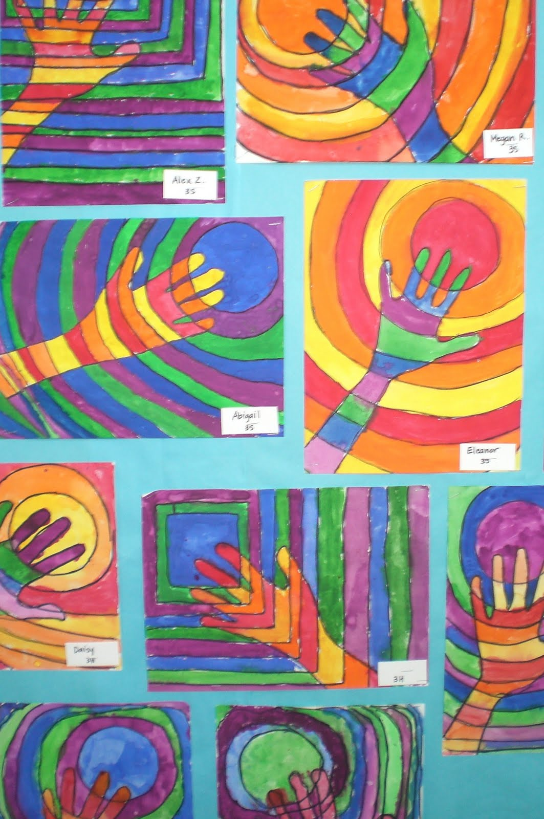 Line Art Year 2 : Art with mrs hurley warm and cool hands third grade