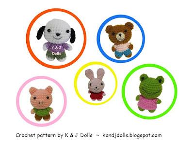 Amigurumi animals: frog, bear, pig, dog and bunny