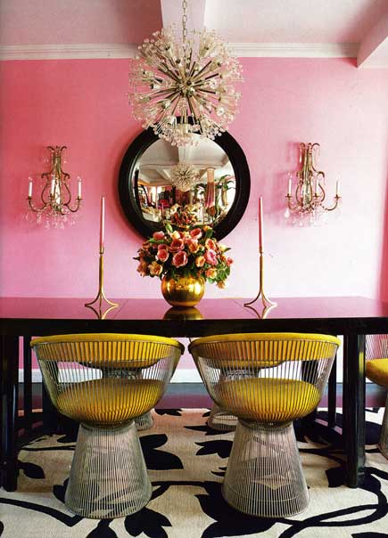 dining room decor pink walls