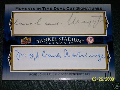 Upper Deck Yankee Stadium Legacy Dual Pope Cut Signature