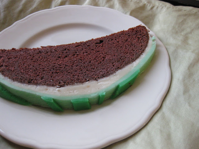 slice of watermelon cake, a watermelon shaped cake