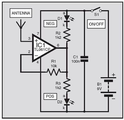 statik elektrik dedektörü devre şeması