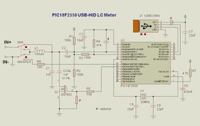 pic18f2550 usb hid lcmetre devre şeması