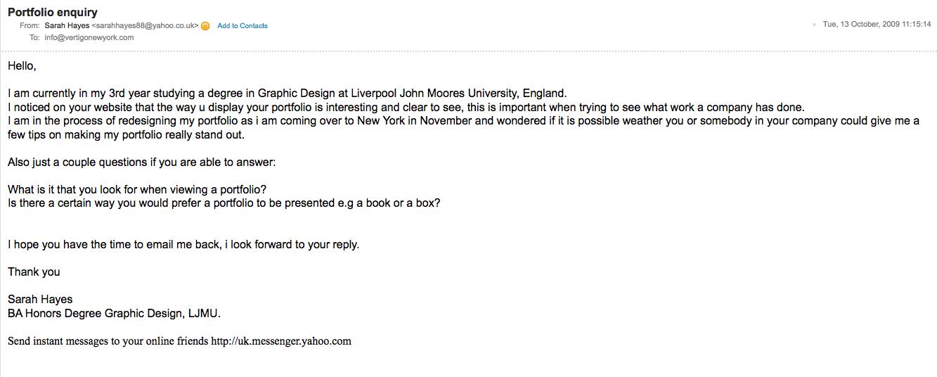 SARAH HAYES: Vertigo NYC - Email contact Fred Pesce
