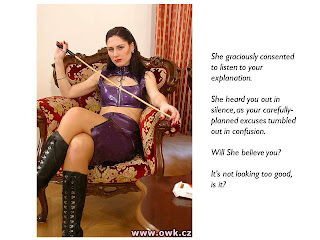 femdom caption cane boots punishment