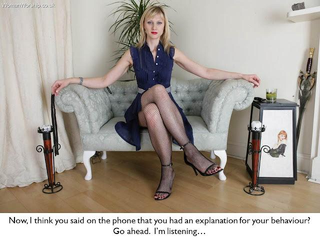femdom caption blonde dominant wife sitting waiting for explanation before punishment