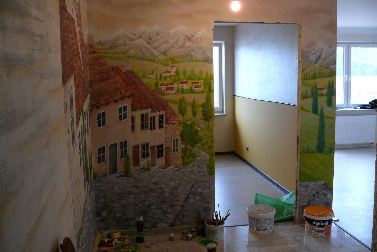 Artystyczne Malowanie ścian 3d Malowanie Przedpokoju Uliczka