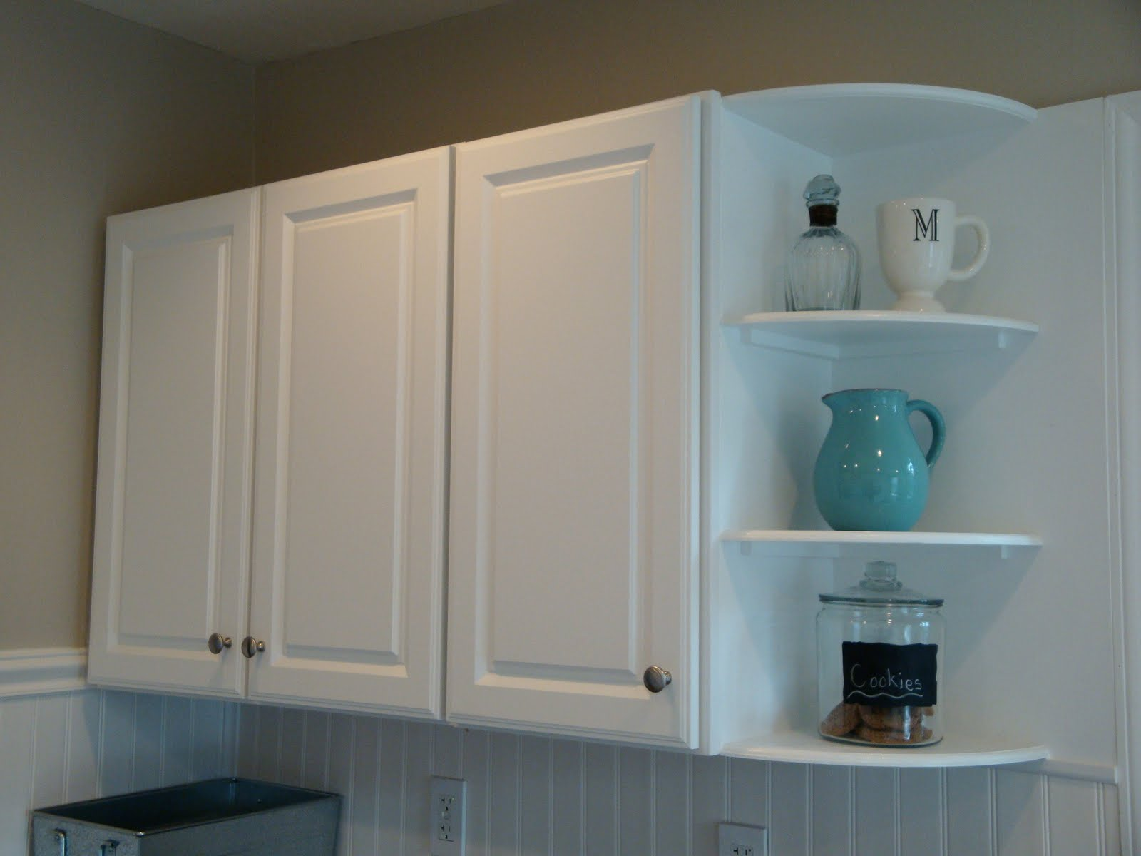 Kitchen Corner Wall Cabinet With End Shelves