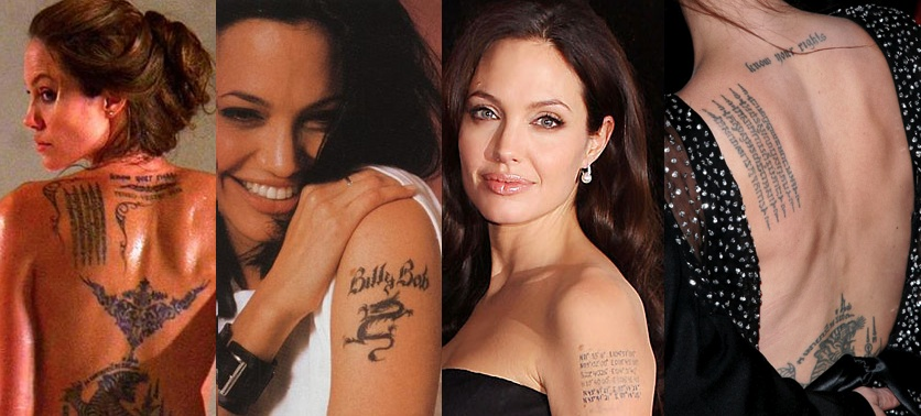 what does angelina jolie tattoo say
