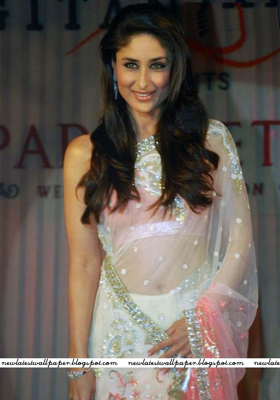 Kareena Kapoor In Pink Transparent Saree Hot And Beautiful