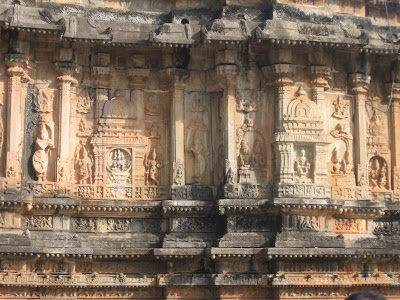 Stone work on the walls of Vidyashankara Temple, Sringeri