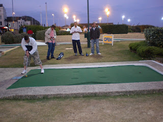 Minigolfer 'Squire' Richard Gottfried in action on the sea front Crazy Golf course in Hastings