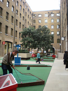 Minigolf course in Devonshire Square, London