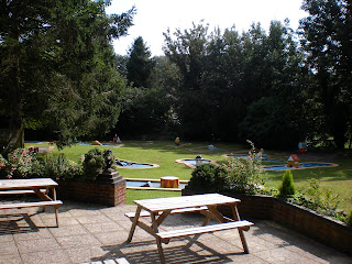 The Minigolf course in the beer garden of The Woolpack Inn in Smeeth