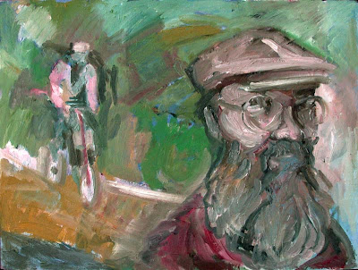 Painting of bicycle authority Sheldon Brown