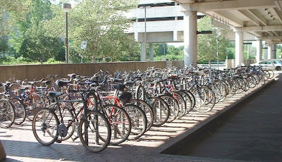 Bicycles parked at Alewife MBTA Red Line station