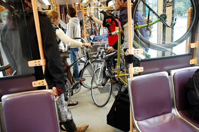 Image of bikes crowded onto MAX train in Portland, Oregon